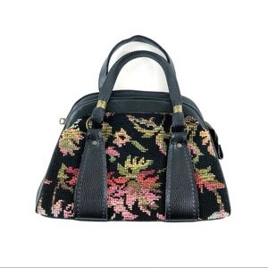 Vintage black floral Carpetbag handbag tote purse
